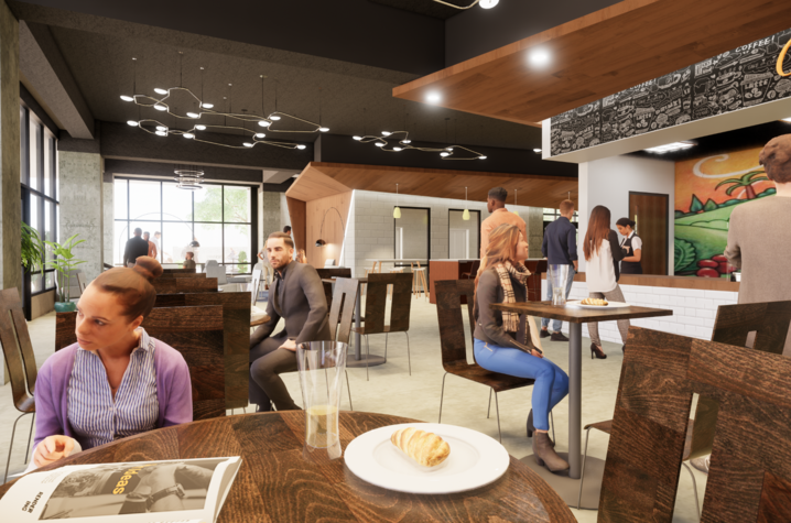 rendering of The Cornerstone Exchange - people eating at tables