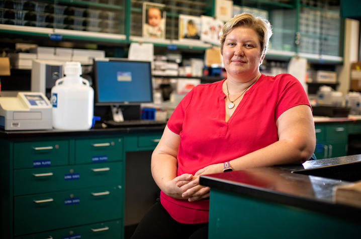 Donna Wilcock, of the Sanders-Brown Center for aging in her lab on August 14, 2019. Photo by Mark Cornelison | UKphoto
