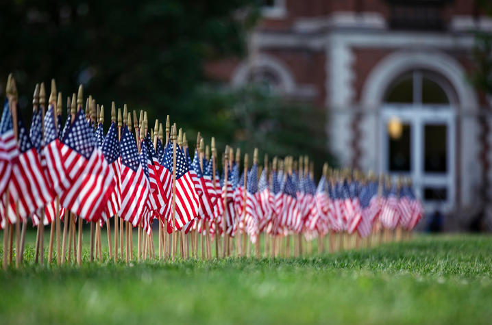 photo of 9/11 memorial flags in front of UK Main Building
