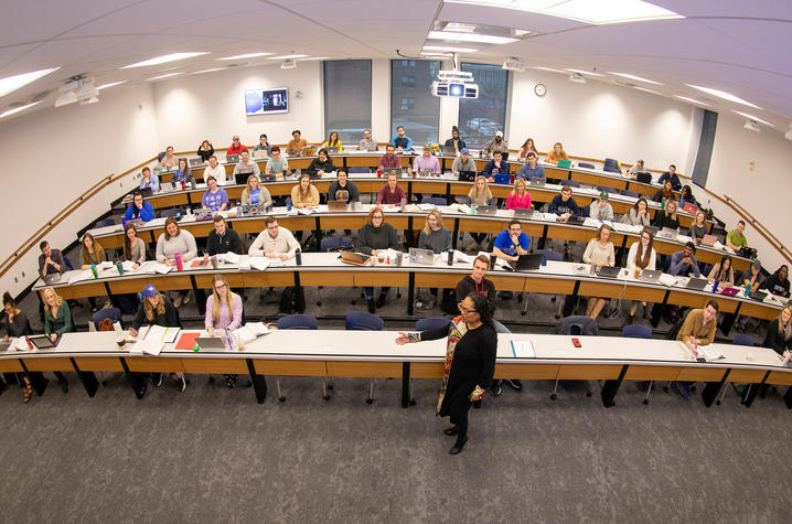 Image of classroom inside the J. David Rosenberg College of Law building