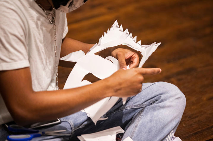 photo of student crafting a mask for theatre class