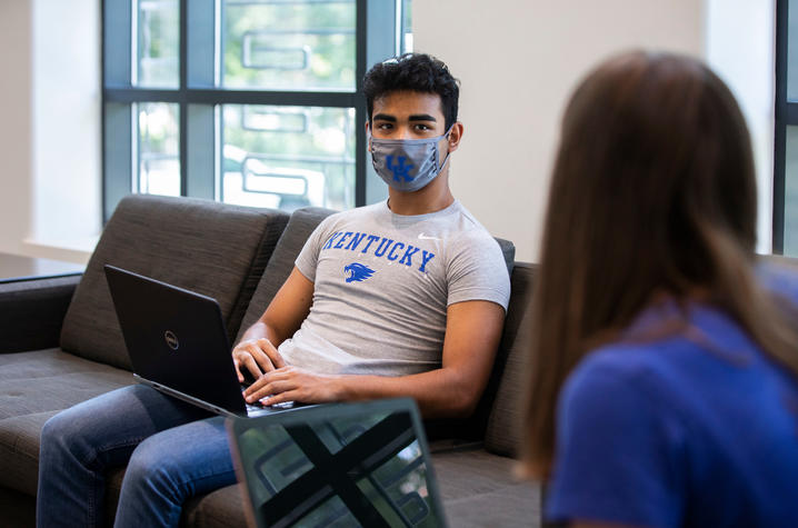 Student in a mask.