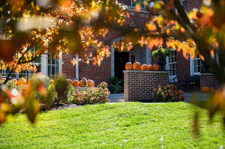 Photo of Tri Delta house decorated for fall