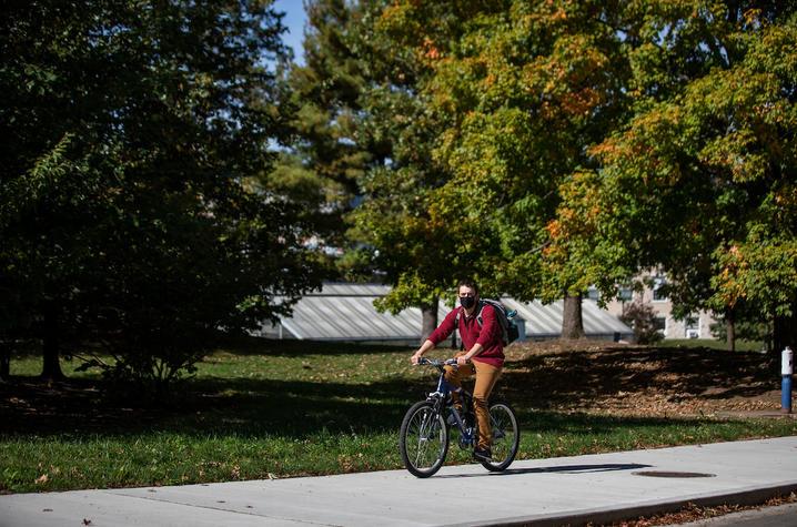 Man riding a bike.