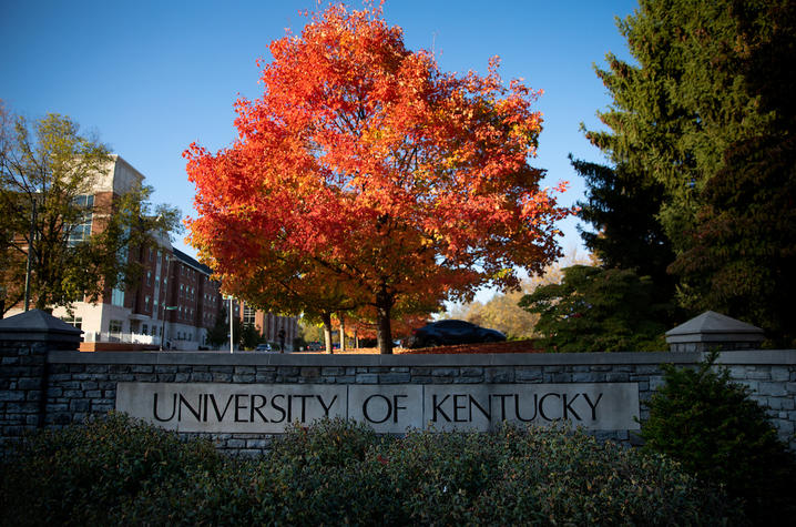 Tree with fall leaves behind 'University of Kentucky' stone wall