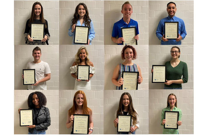 collage of 12 students displaying their Maurice A. Clay awards.