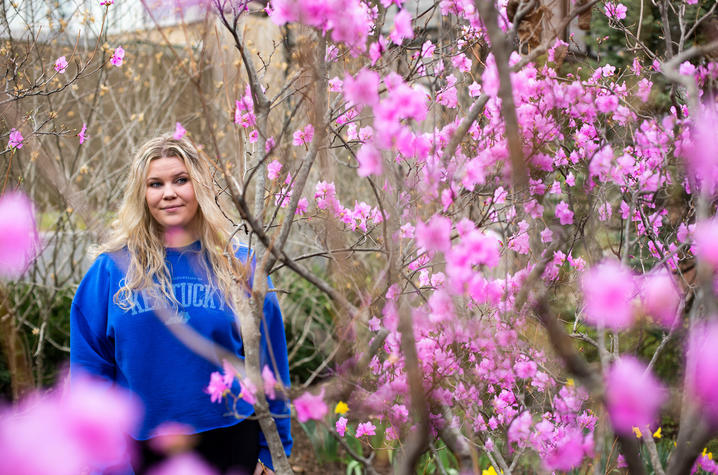 Aleah Archer, a UK healthcare patient who credits her care at UK's Multiple Sclerosis Center for helping her live a normal life as a college student, on March 23, 2021. Photo by Pete Comparoni | UKphoto