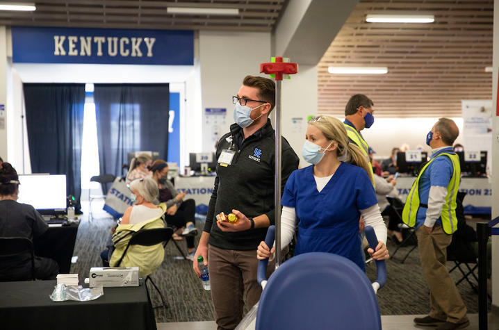 Sean McCarthy at Kroger Field vaccine clinic