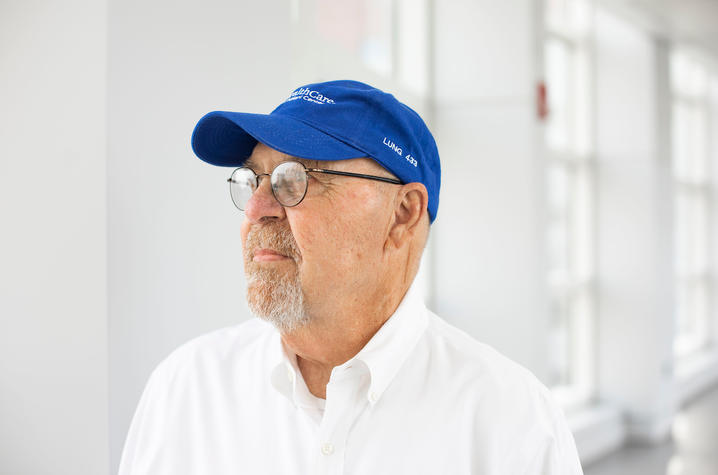 Photo of Larry in blue hat