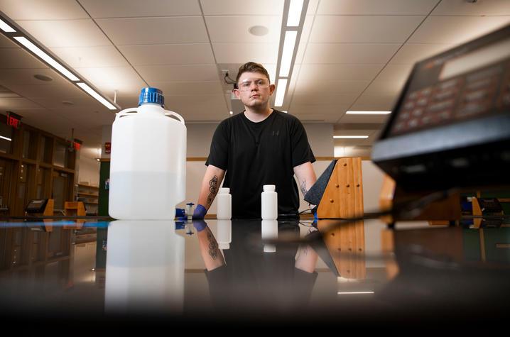 photo of Matthew Farmer in lab