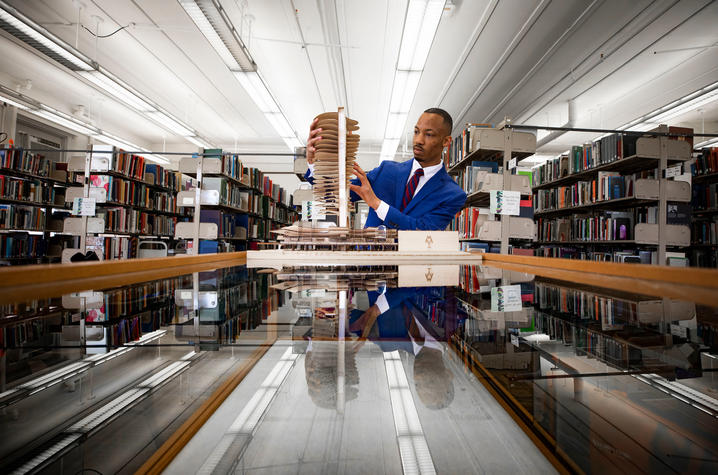 photo of Montre'ale Jones working with model in Design Library