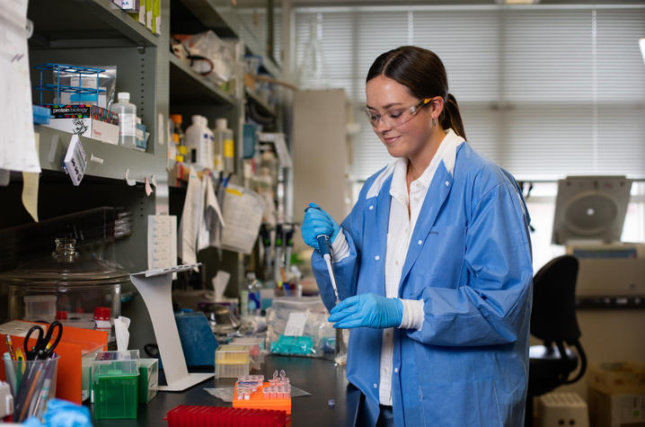 UK undergraduate Hollie Clifton is gaining hands-on research experience in the lab in UK's STEPS summer research program. Pete Comparoni | UK Photo