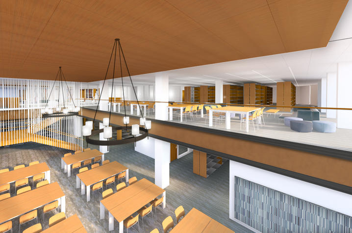 Rendering of the library reading room in the new UK College of Law Building