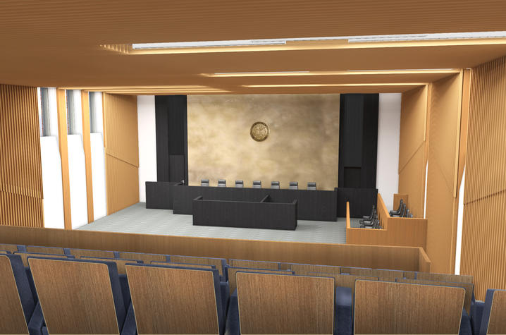 Rendering of moot courtroom in the new UK College of Law Building