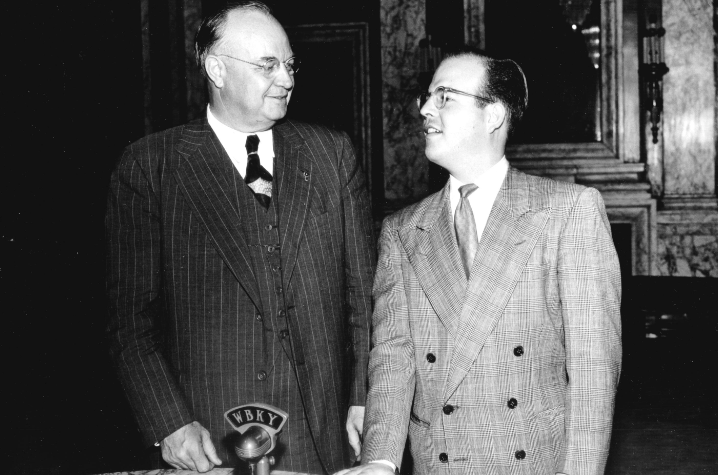 The Clements Award recognizes promising and innovative Kentucky K-12 educators and honors the life and career of the late Earle C. Clements and his lifelong commitment to education and public service. Clements (left) seen here during his time as governor.
