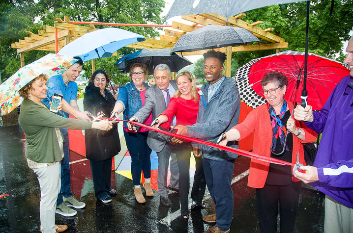 "photo of ribbon cutting for ""The Music Lounge"""