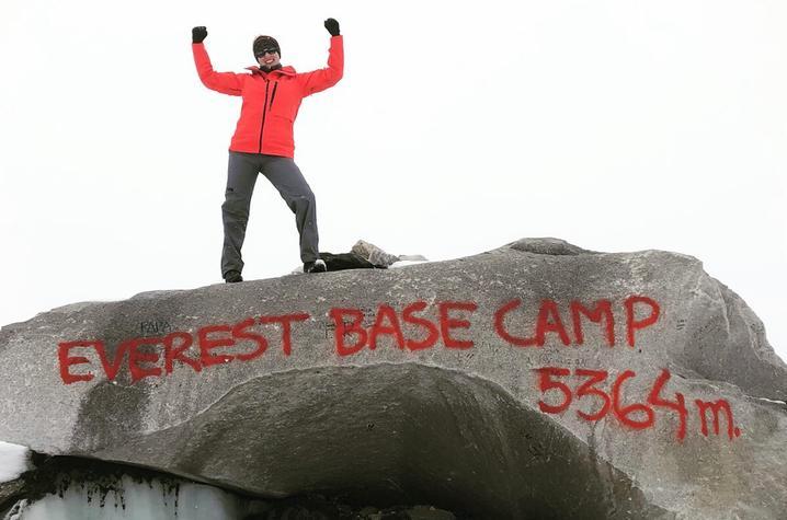 Dr. Kim Kaiser at Everest Base Camp