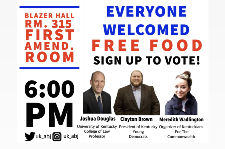 """The University of Kentucky Association of Black Journalists(ABJ) will be hosting a new event, """"Dine and Vote,"""" at 6 p.m. Wednesday,Septe. 25, in 315 Blazer Dining."""
