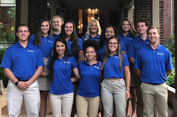 Alumni Ambassadors front: Ross Boggess, Sara Khandani, Susie Smith, Lauren Hamlin, William Reedy; middle row: Alex Francke, Amy Langford, Michaela Taylor, Michael Regard; back: McKaylee Copher, Jessica Waters, Morgan Cornelius. Absent: William Jackson III