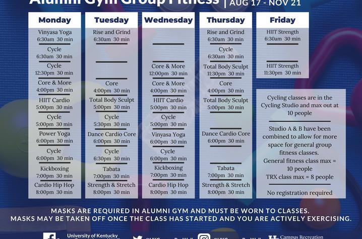Alumni Gym class schedule fall 2020