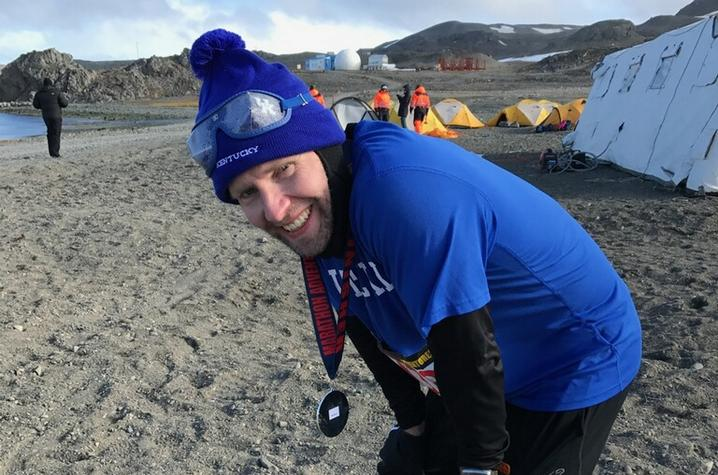 This is a photo of UK Alumnus Jason Darnall in Antartica