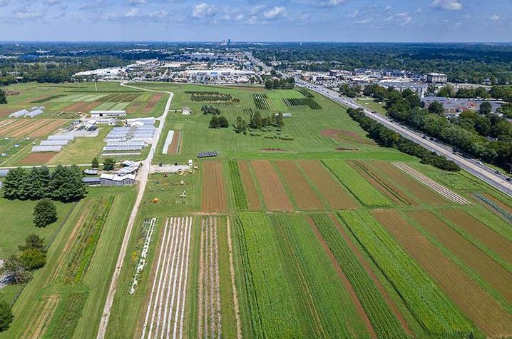 Aerial view of UK's Horticulture Research Farm in Lexington