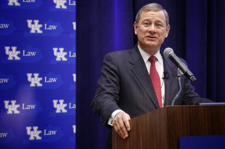 photo of Hon. John G. Roberts Jr., Chief Justice of the United States, speaking at UK