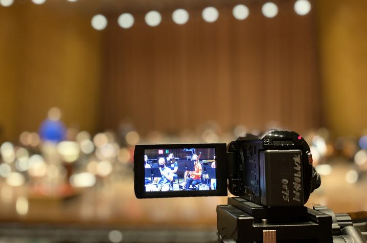 photo of video camera recording in Singletary Center