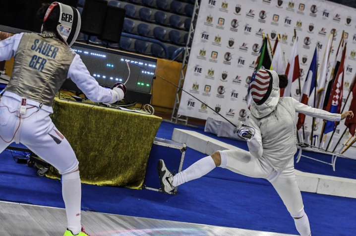 photo of Lee Kiefer competing for USA Fencing