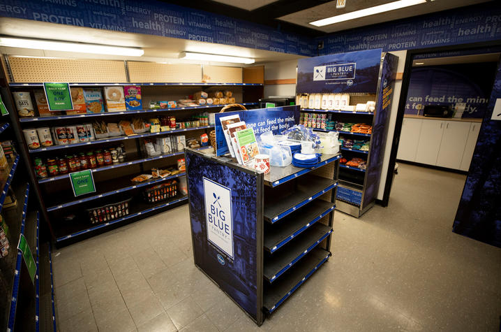 a photo of shelves stocked with food items at Big Blue Pantry