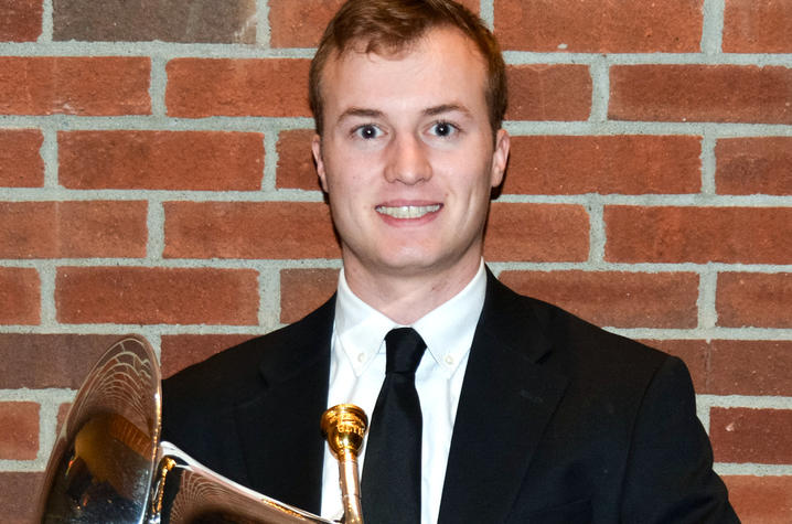 photo of Chase Teachey with euphonium