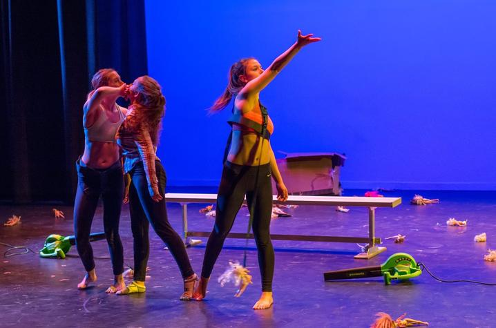 """photo of 3 dancers performing """"Choking Hazard"""" by Cecilia Pont"""