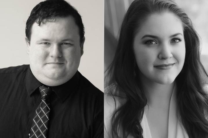 headshot photos of Taylor Comstock and Rebecca Farley