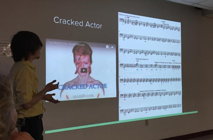 photo of UK student presenting on David Bowie