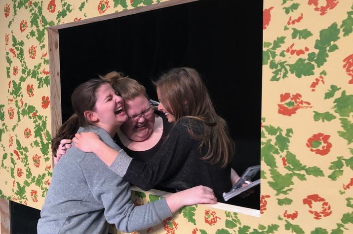 """photo of the 3 sisters in UK Theatre's production of """"Crimes of the Heart"""""""