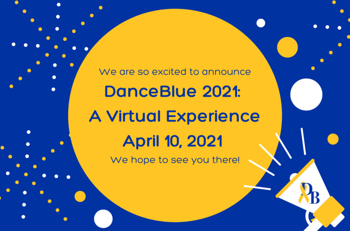 DanceBlue virtual flyer with blue, yellow and white lettering and shapes