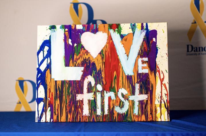 "DanceBlue artwork that reads ""love first"""