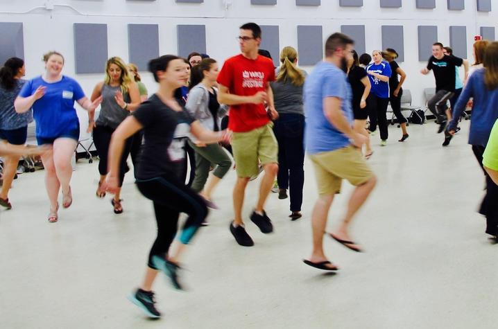 photo of participants in movement in Dalcroze Workshop