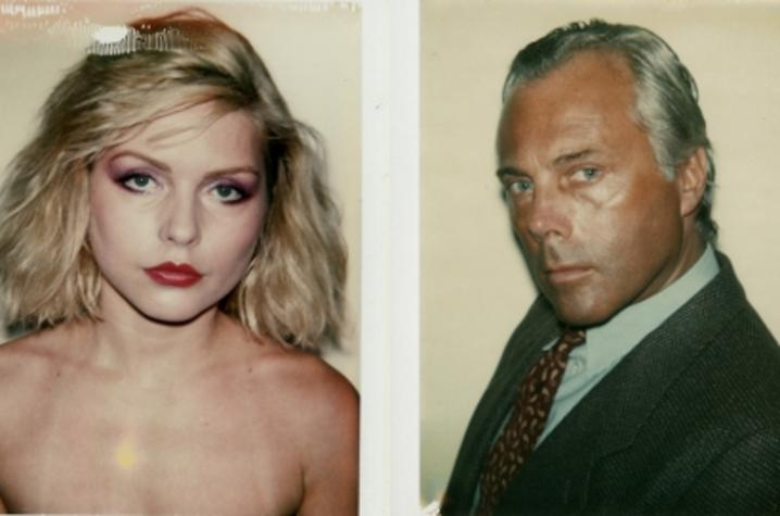 photographs of Debbie Harry and Giorgio Armani by Andy Warhol