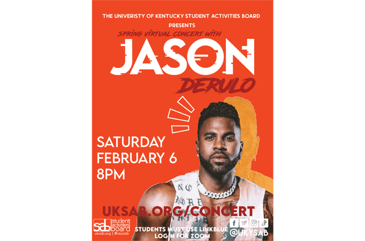 Orange poster with white lettering and image of Jason Derulo