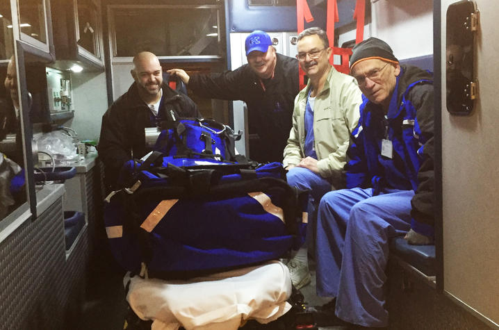 Photo of the UK HealthCare Adult ECMO Transport Team's first run