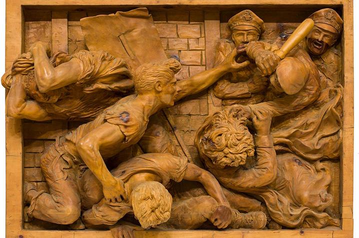 """photo of wood carving """"Amendment"""" by Edward Melcarth"""