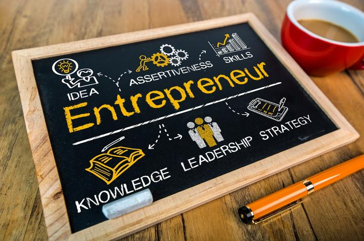 photo of chalkboard with steps taken as an entrepreneur