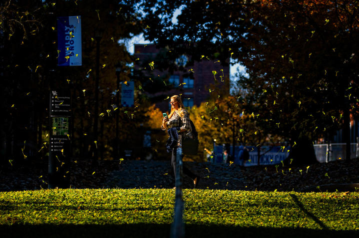 UK student surrounded by falling gingko leaves on campus
