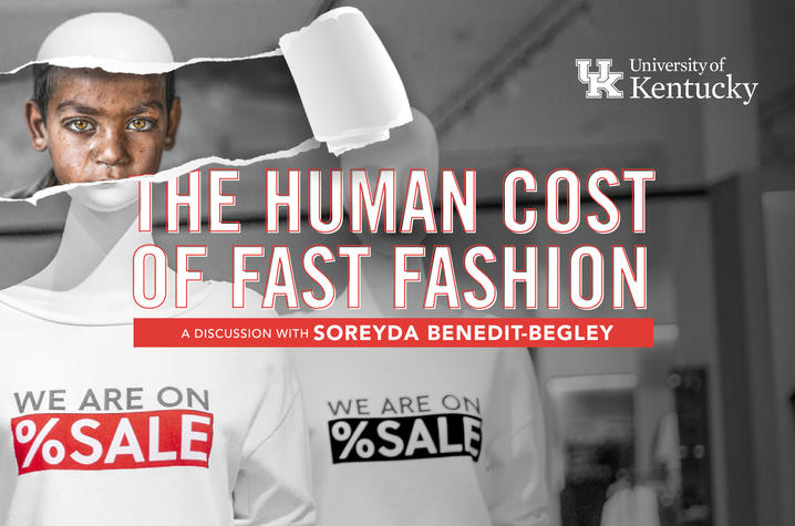 "Virtual flyer with wording ""The Human Cost of Fast Fashion"" across the center in white and orange"