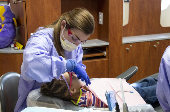 Students provide free dental care as part of the Saturday Morning Clinic program