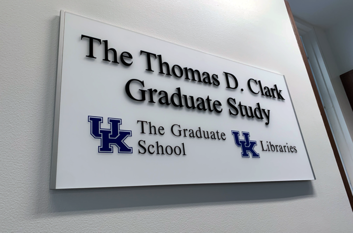 photo of plaque for The Thomas D. Clark Graduate Study at Young Library