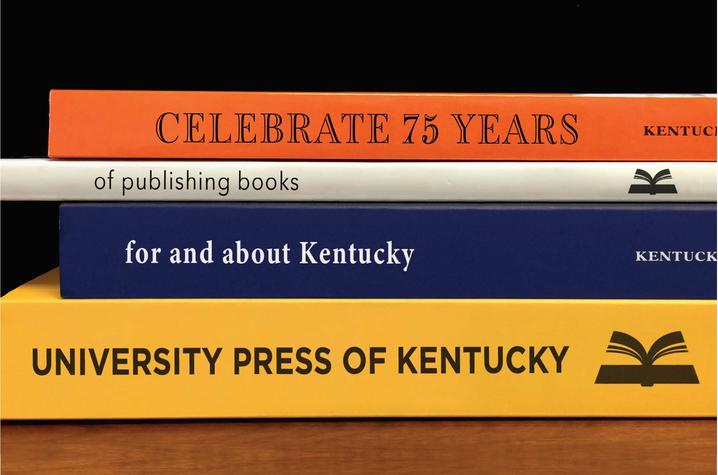 photo of 4 UPK book spines with info on 75th anniversary