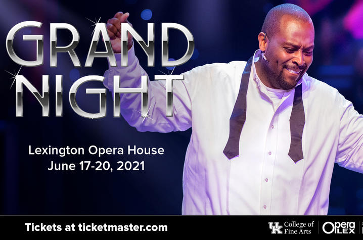 """web banner for 2021 """"Grand Night"""" with photo of Michael Preacely performing"""