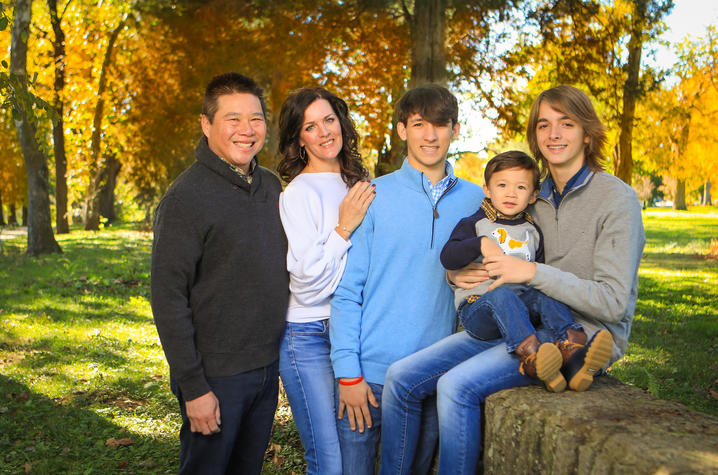 L to R; Michael and Michelle Huang, Greyson Shively, Gabriel Huang, and Griffin Shively.